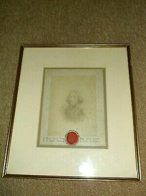 Rare Antique 19C Napoleonic Picture & Red Wax Seal Of French General Baron Roget