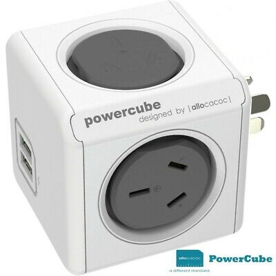 Allocacoc PowerCube Cordless 2 Power Outlets & 2 USB Grey