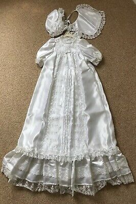 """Vintage Style Satin Christening gown 3-6m baby or 18-22"""" reborn doll."""