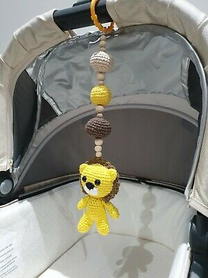 Baby Mobile Pram stroller accessory crochet lion rattle baby toy, lion nursery