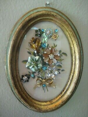 VTG Rhinestone English Country Jewelry Art Flower Bouquet Framed mixed media MCM