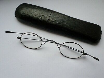 Antique circa 19th early 20th century ladies spectacles in papier mache case