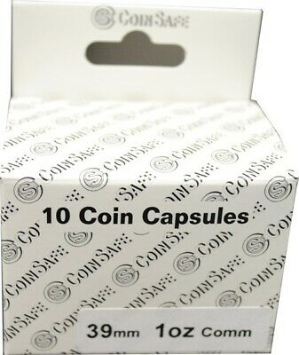 10 Coin Safe Capsules For 1 Oz Silver Round 39mm Bullion Clear Quality Holders