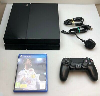 Sony Playstation 4 Ps4 Console 500Gb Black + Fifa 18 + Warranty + Works Perfect