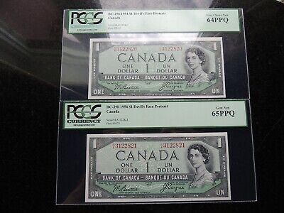 1954 Bank Of Canada $1 One Dollar 2 Consecutives Pcgs Unc-65 Unc-64 Rare