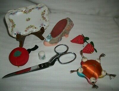 Vintage Sewing Lot Singer W Germany Scissors Thimble Pin Dish Cushions