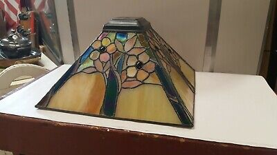 Vintage Large Stained Glass Lamp Shade Perfect Condition Mission Arts & Crafts