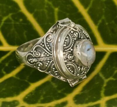 Handmade Solid Sterling Silver 925 Bali Style Large Oval Poison/Pill Ring w Gem.