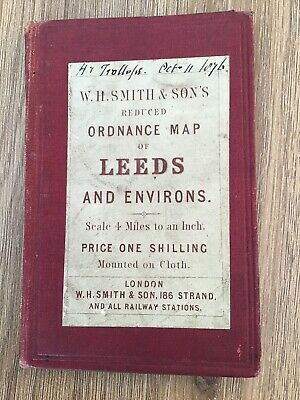 W H Smith & Sons Reduced Ordnance Map Of Leeds & Environs C1876 Cloth