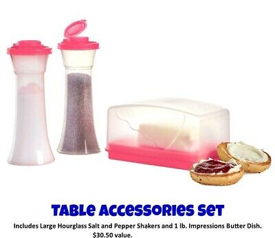Tupperware Table Accessory Lg Salt & Pepper Shakers Impression 1 lb Butter Dish