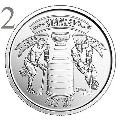 CANADA 2017 New 2x25 cents 125th Anniversary of the STANLEY CUP (UNC From roll)