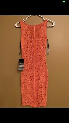 NWT BeBe Midi Dress Coral Orange lace mesh sexy XS Extra Small Day Night Dress