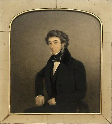 Antique Early 19th century Victorian Watercolour portrait painting Signed 1841