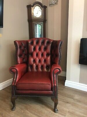 Queen Anne Chesterfield Red Oxblood Wing Back Chair