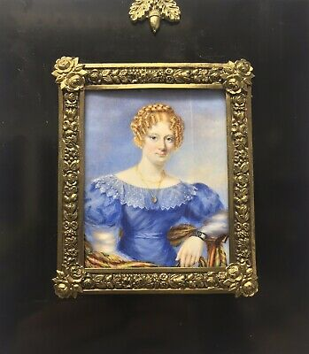 Antique 19th century Victorian miniature portrait painting young lady