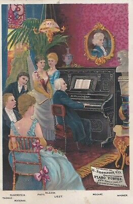 1880s ANTIQUE MOZART B. SHONINGER CO. Upright Pianos.* Trade Card.
