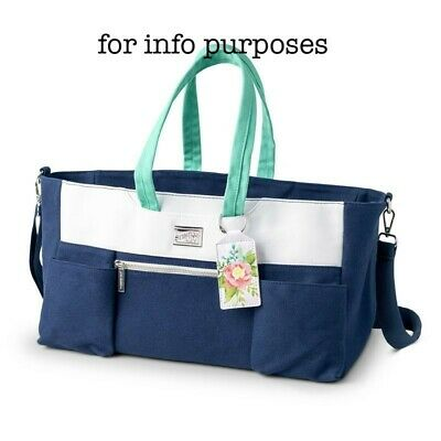 Stampin' Up! craft and carry tote crop storage bag Limited edition white navy