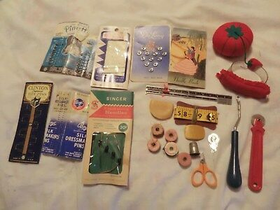 Sewing Notions  Pin Cushions Needles Thread Measurers Thimble Tracing Wheel Vtg
