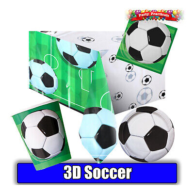 3D SOCCER / FOOTBALL Birthday Party - Tableware cups plates napkins tablecover