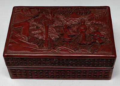 Antique Chinese Cinnabar Lacquer Box Mtn. Landscape w Figures Trees Architecture