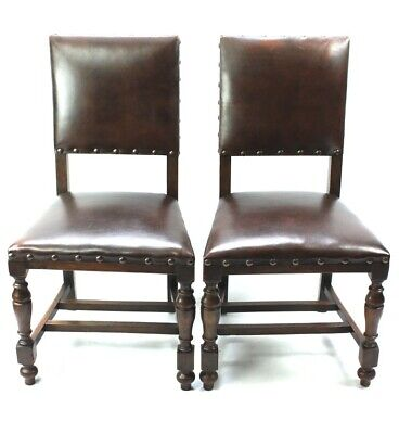 Pair of Vintage Oak and Leather Chairs - FREE Shipping [5348 A]