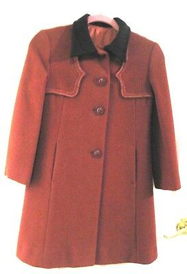 England Tailorwear 100% Pure Wool Lined Long Coat in Rusty Brown 00P