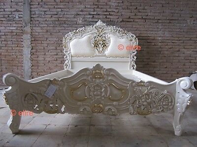 Ivory with Gold 5' King Size Rococo bed direct from bespoke furniture makers