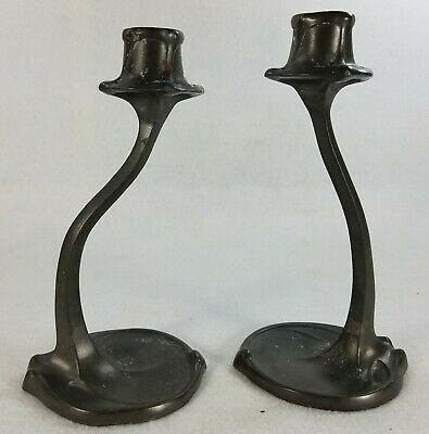 Pair of Antique Art Nouveau Pewter Candlesticks Hallmarked