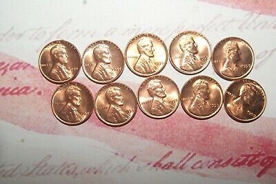 1959 P mint BU uncirculated (10) coin lot 'first year' Lincoln memorial cents #4