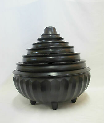 Large Antique BURMESE Conical Black Lacquer Wood 7 Compartment Food Offering Box