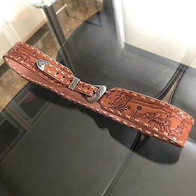"Vintage TAN Cowhide TOOLED Leather COWBOY Western BELT Silver BUCKLE/Tip 38"" XL"