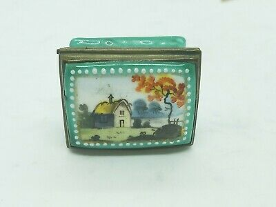 Antique Hand Painted House Battersea English Georgian c1790 Enamel Patch Box