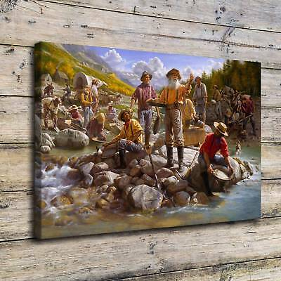"""Gold Rush Painting HD Print on Canvas Home Decor Room Wall Art Picture 16""""x24"""""""
