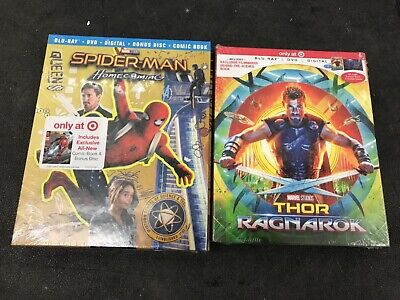 Lot of 2 Target exclusive Thor: Ragnarok,Spider-Man Homecoming Blu-Ray DVD combo
