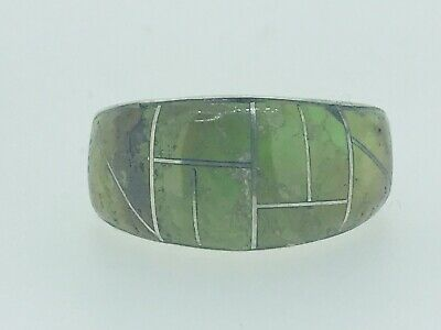 Vintage Estate Sterling Silver & Green Turquoise inlay Navajo Ring by Tom Sam