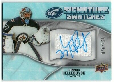 2018-19 Upper Deck Ice Signature Swatches SW-CH Connor Hellebuyck GU Auto 96/150