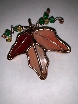 PIN vintage handmade stained glass Maple Leaf Fall Colors Copper Artisan Beads