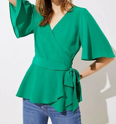 Ann Taylor LOFT Wrap Top Various Sizes NWT Dynamic Green Color