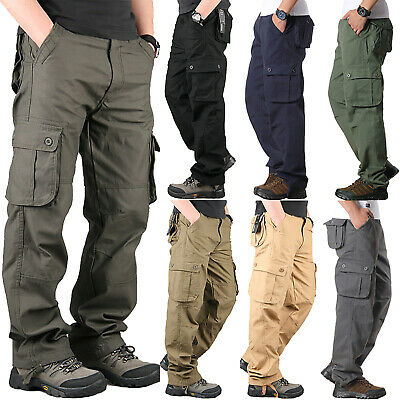 Mens Cargo Combat Walking Pockets Pants Army Military Casual Work Solid Trousers