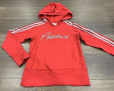 Girls size 10 Red ADIDAS Hooded Jumper *Great Con*