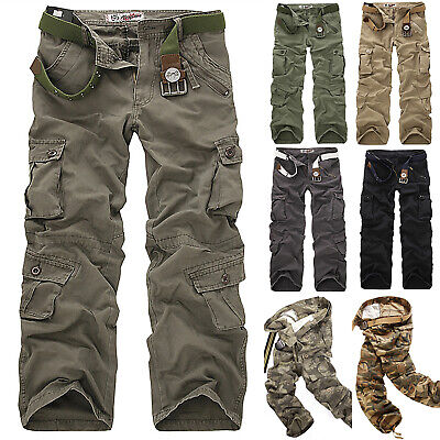 Mens Casual Military Army Cargo Camo Tactical Combat Pants Pockets Work Trousers