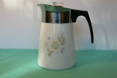 VTG Corning Ware Floral Bouquet 6 Cup Stove Top Percolator Coffee Pot P-146