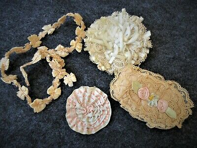 Mixed Lot Vintage French Lace..Satin Rosettes & Ribbon bows Trim..Antique Dolls