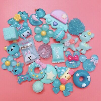 15 BLUE Kawaii Resin Cabochons Cute Pastel Flatback Charms Decoden Candy Animals