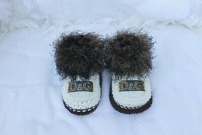 hand knitted baby brown fur and cream shoes  booties. 0/3m or  nb