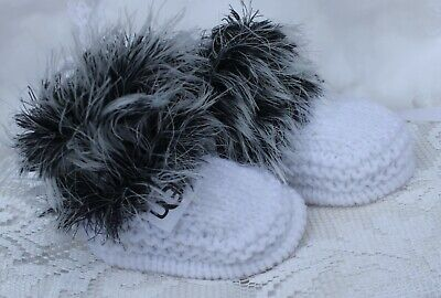 hand knitted baby shoes  booties. black and white fur 0/3m or  nb