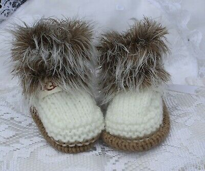 hand knitted baby beige  fur and cream shoes  booties. 0/3m or  nb