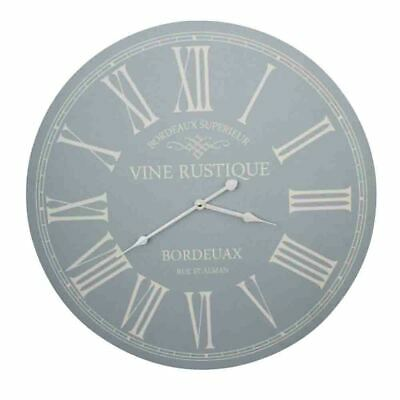 Clock French Country Vintage Wall Hanging 58cm VINE RUSTIQUE DUCK EGG BLUE New