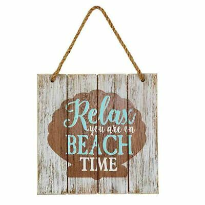 French Country Vintage Inspired Wall Art Wooden RELAX BEACH TIME Sign New