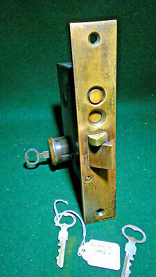 "1889 RUSSWIN #138 1/2-L PUSH BUTTON ENTRY MORTISE LOCK w/KEYS 7 5/8"" FACE (12385"